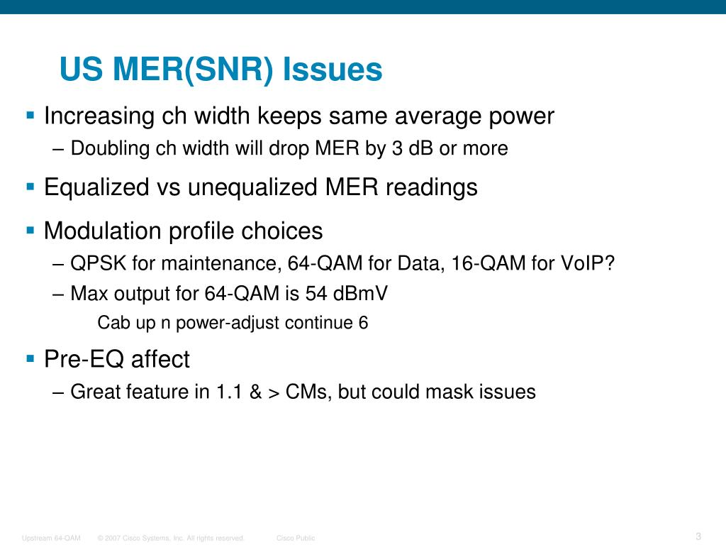 US MER(SNR) Issues