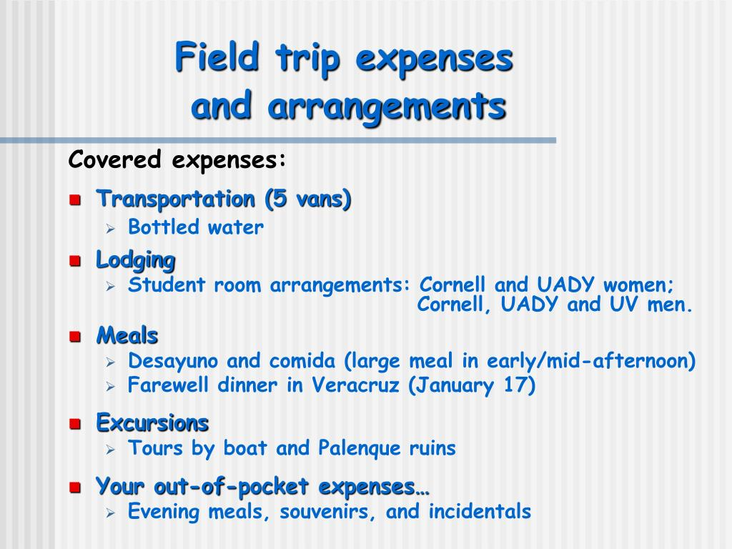 Field trip expenses