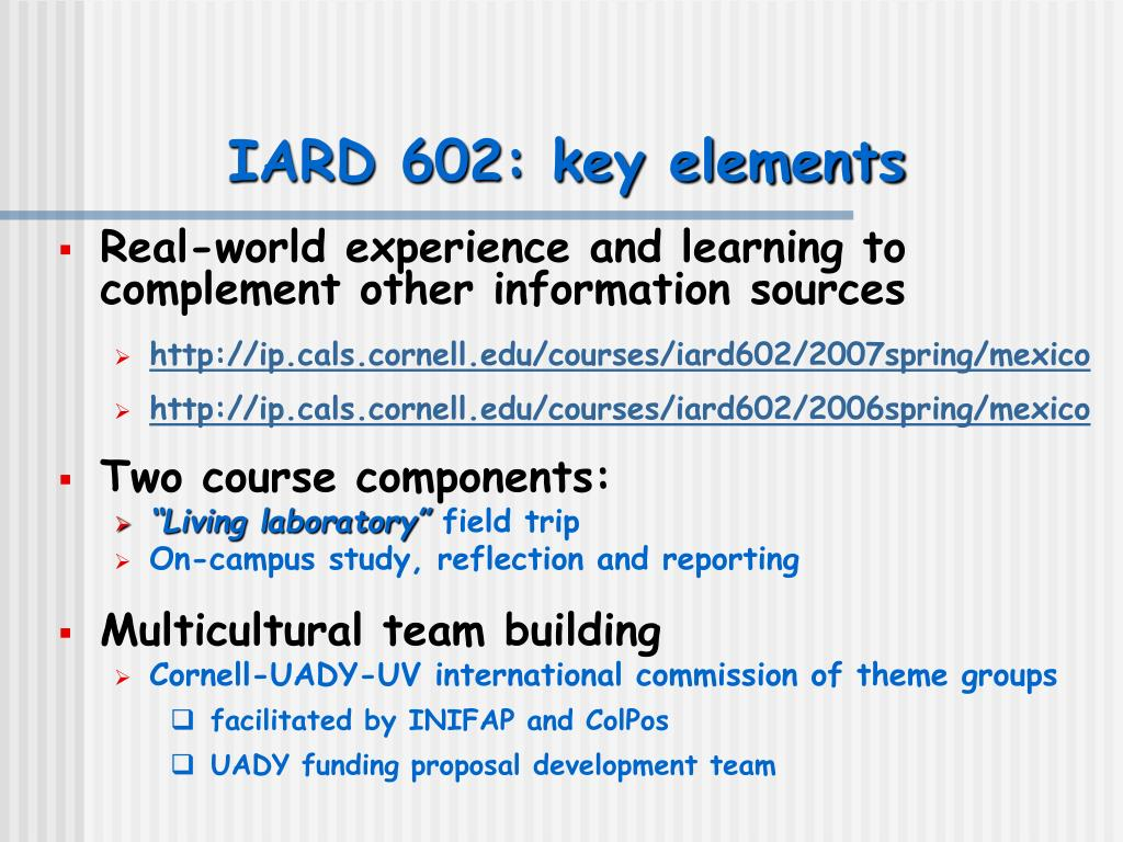 IARD 602: key elements