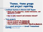 themes theme groups and project reporting