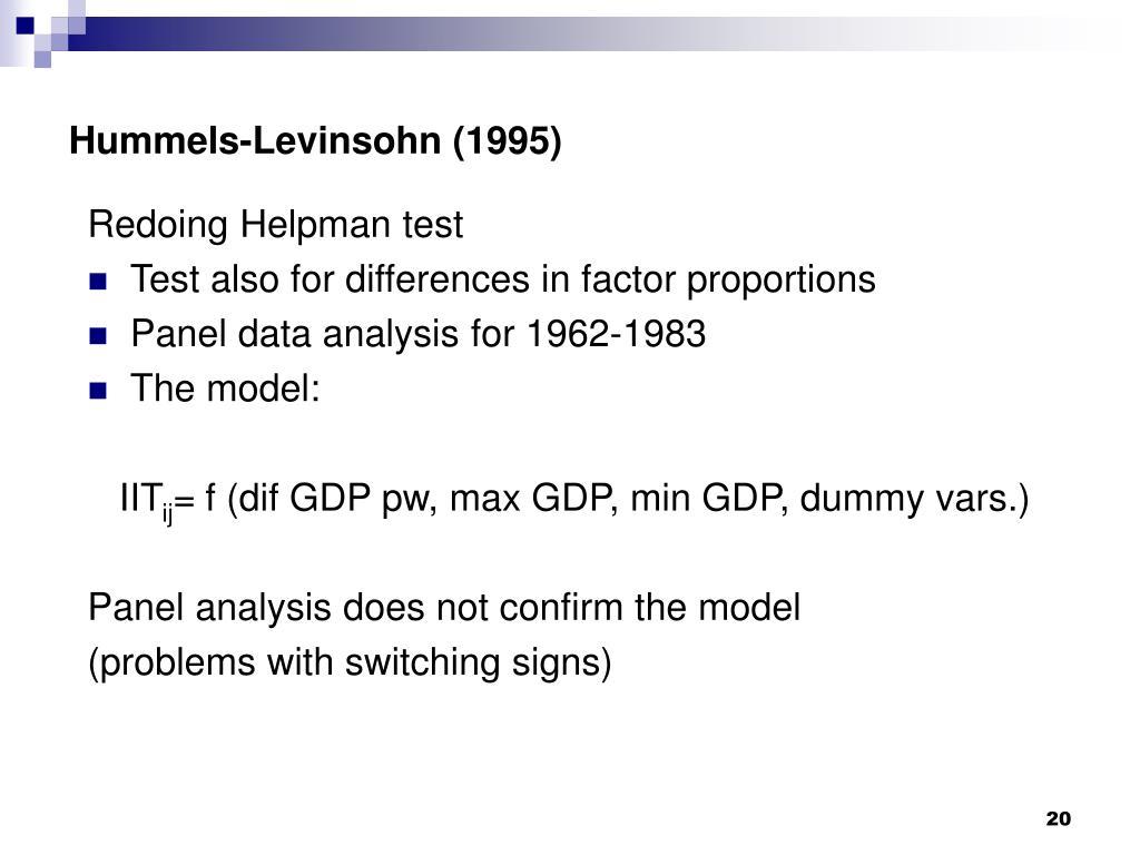 Hummels-Levinsohn (1995)