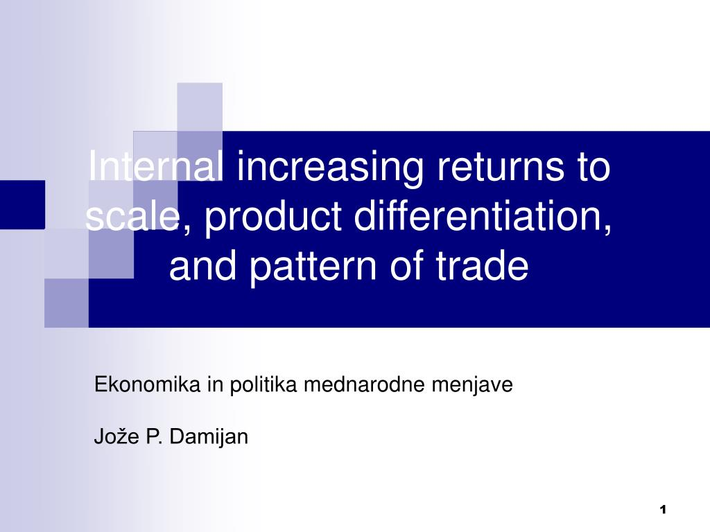 Internal increasing returns to scale, product differentiation,