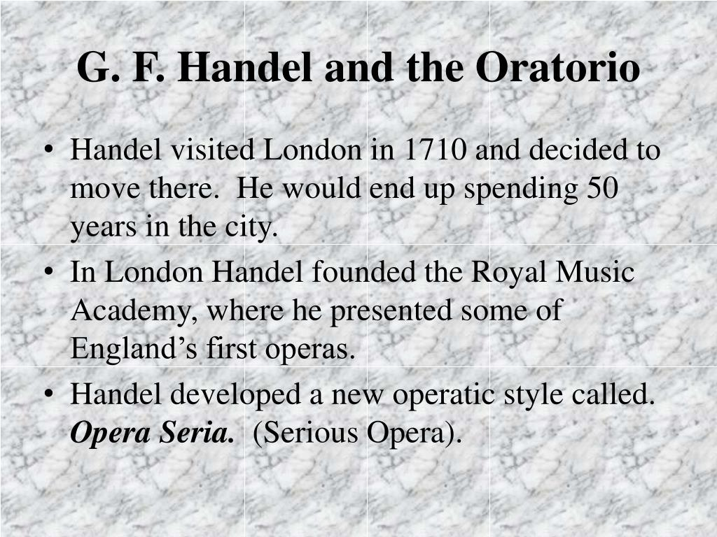 G. F. Handel and the Oratorio