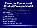 essential elements of original program model