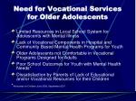 need for vocational services for older adolescents