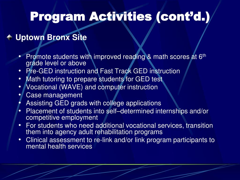 Program Activities (cont'd.)