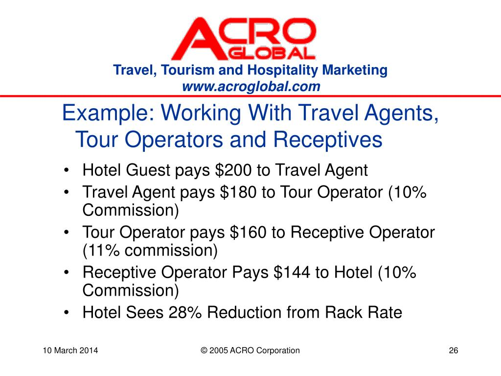 Example: Working With Travel Agents, Tour Operators and Receptives