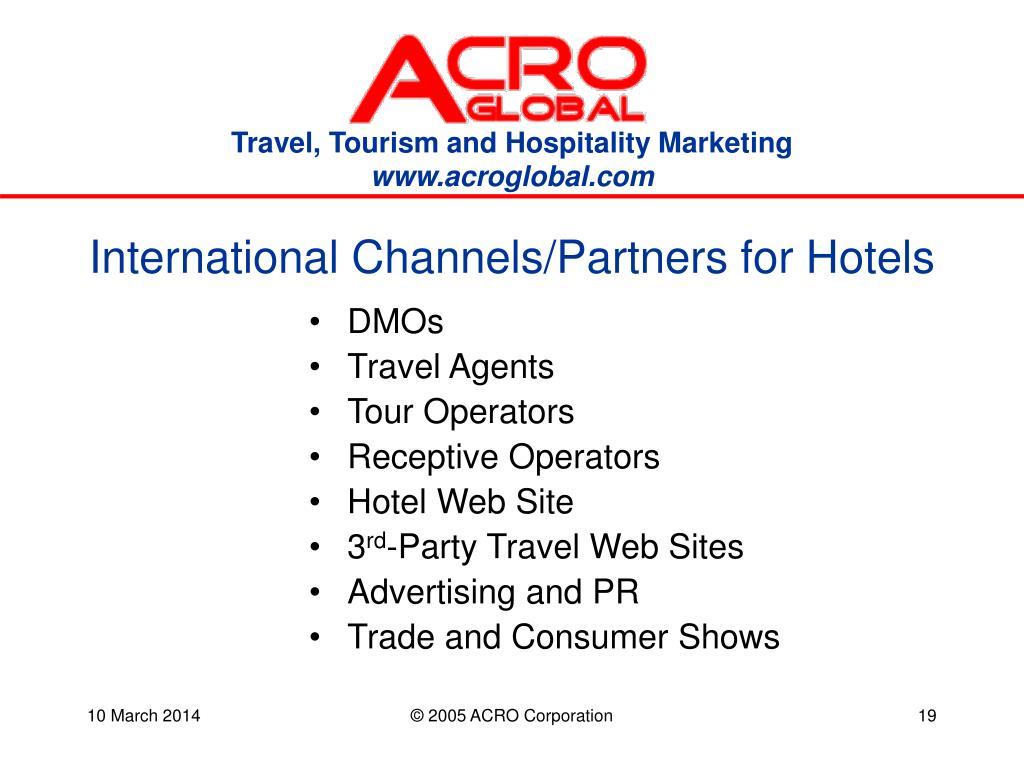 International Channels/Partners for Hotels