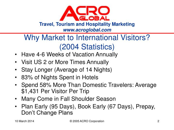 Why market to international visitors 2004 statistics