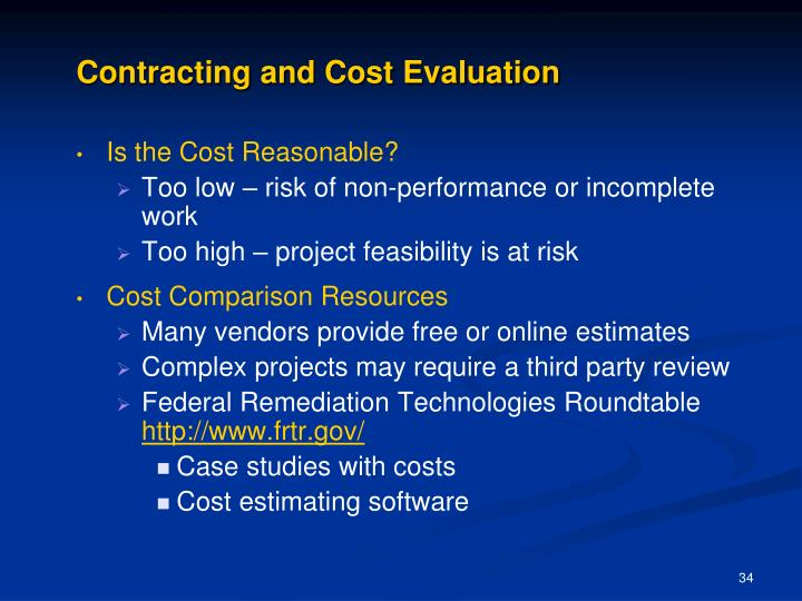 Contracting and Cost Evaluation