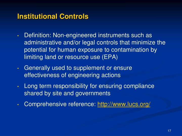 Institutional Controls
