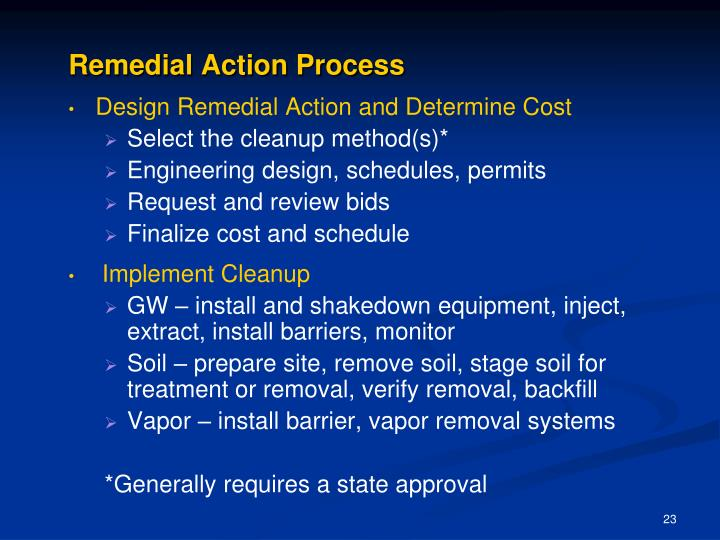 Remedial Action Process