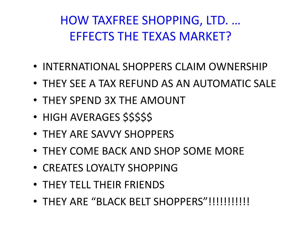 HOW TAXFREE SHOPPING, LTD. …