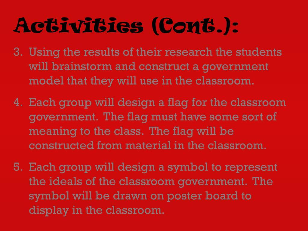 Activities (Cont.):