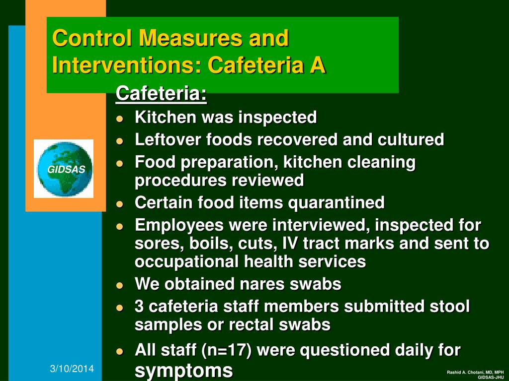 Control Measures and Interventions: Cafeteria A