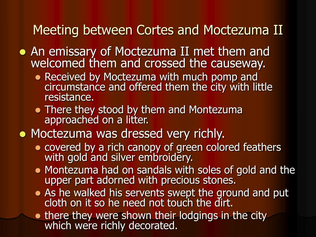 Meeting between Cortes and Moctezuma II