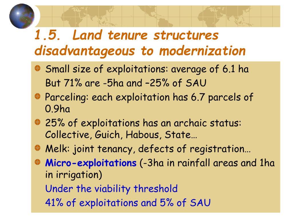 1.5.  Land tenure structures disadvantageous to modernization
