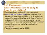 3 4 environment what inheritance are we going to leave to our children