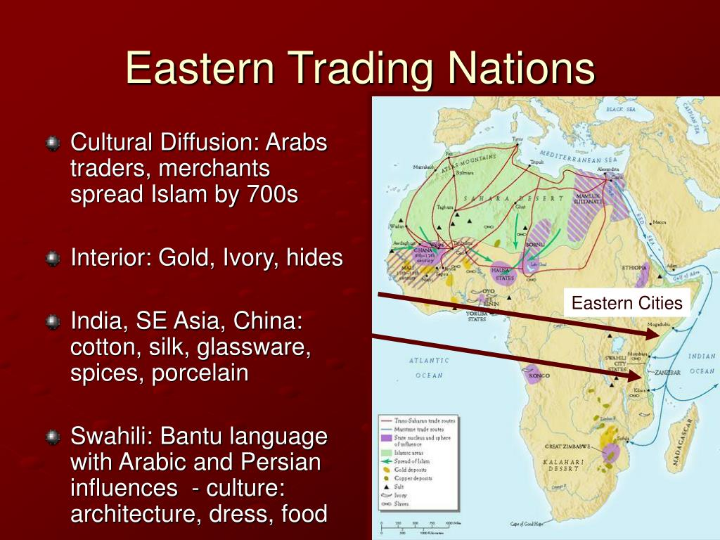 Cultural Diffusion: Arabs traders, merchants spread Islam by 700s