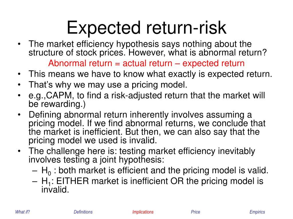 Expected return-risk