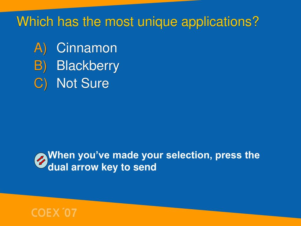Which has the most unique applications?