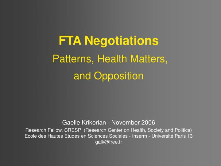 FTA Negotiations