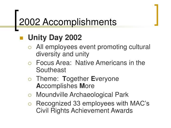 2002 Accomplishments