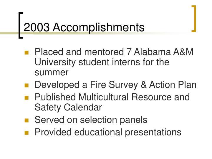 2003 Accomplishments