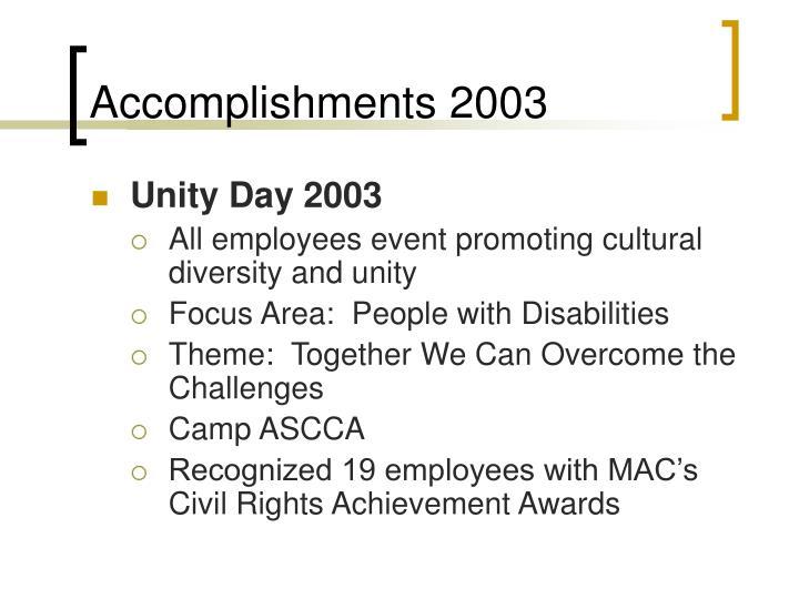 Accomplishments 2003