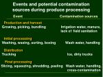 events and potential contamination sources during produce processing