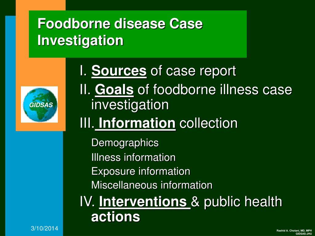 Foodborne disease Case Investigation