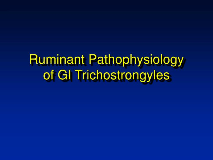 Ruminant pathophysiology of gi trichostrongyles