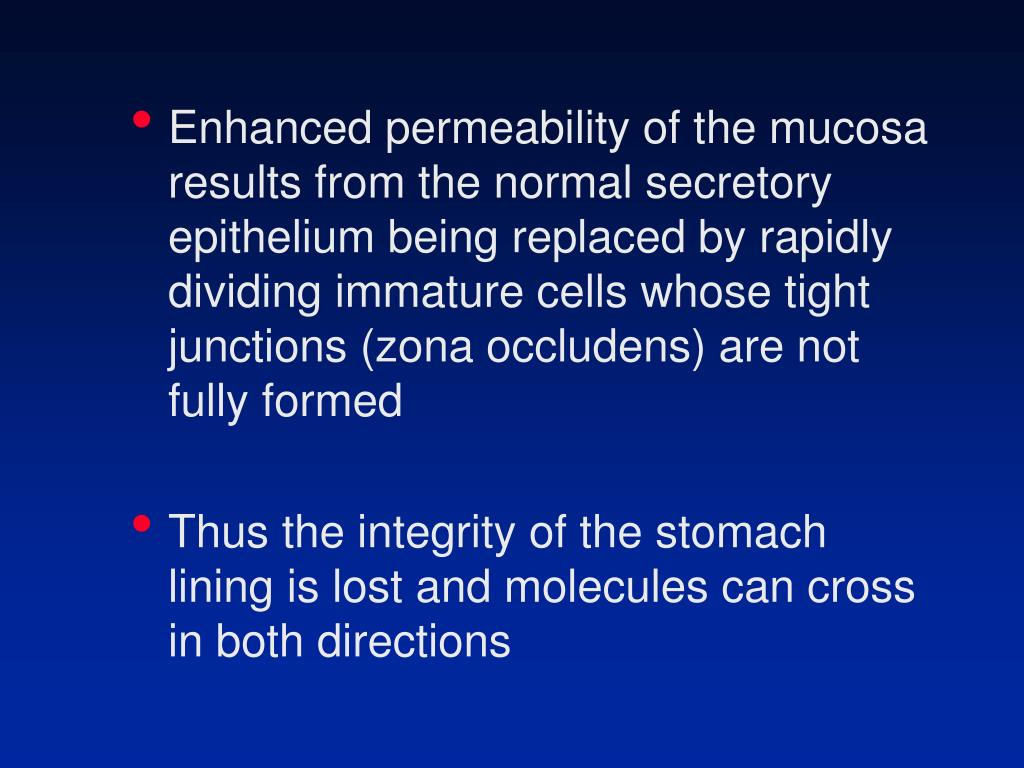 Enhanced permeability of the mucosa results from the normal secretory epithelium being replaced by rapidly dividing immature cells whose tight junctions (zona occludens) are not fully formed