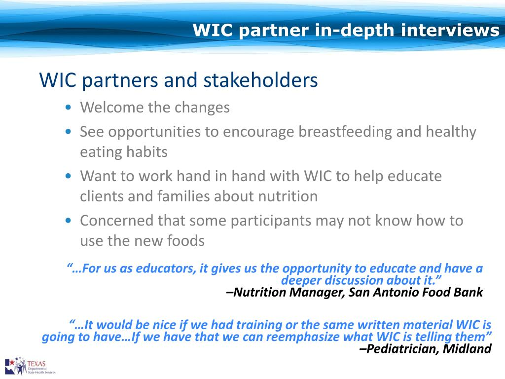 WIC partner in-depth interviews