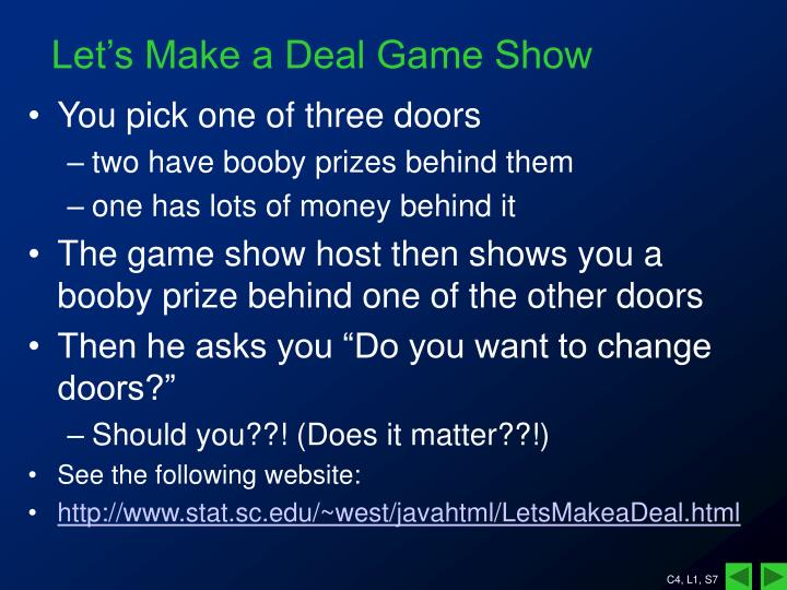 Let's Make a Deal Game Show