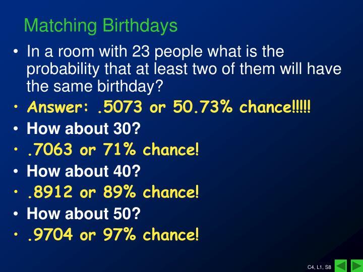 Matching Birthdays