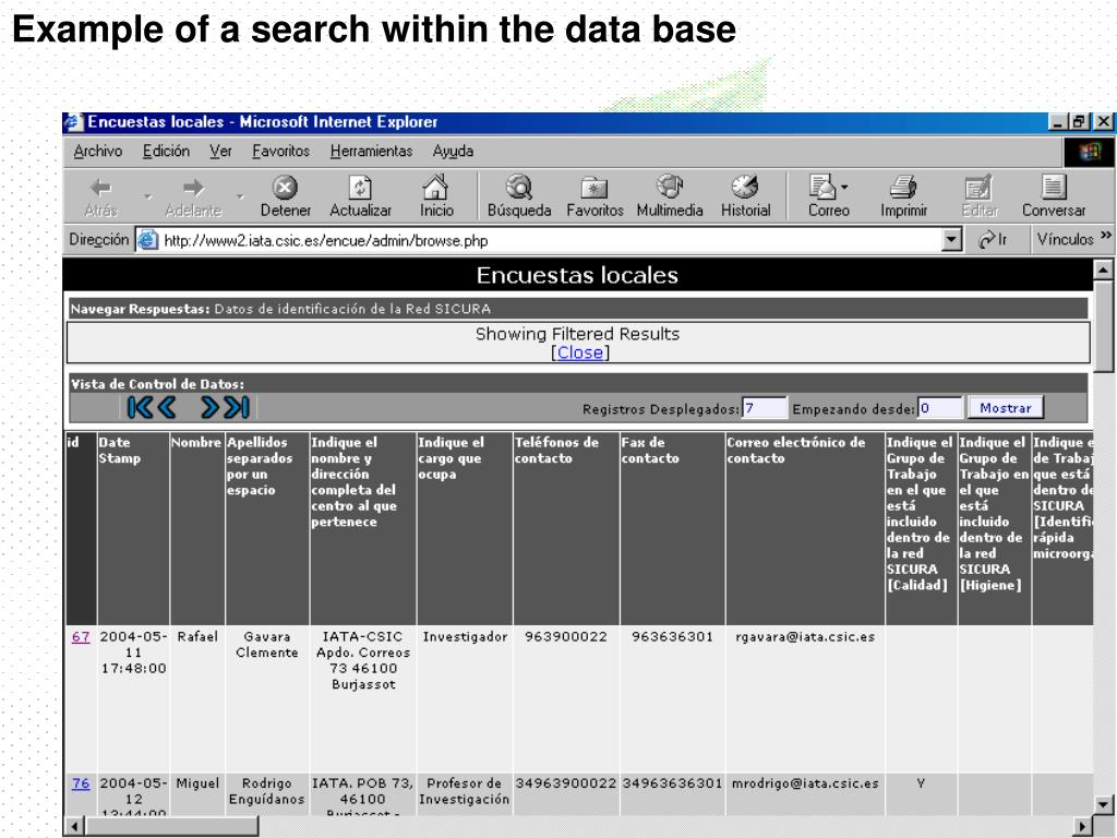 Example of a search within the data base