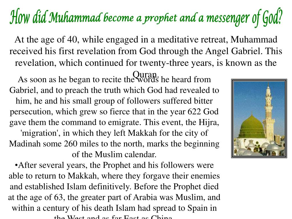 How did Muhammad become a prophet and a messenger of God?