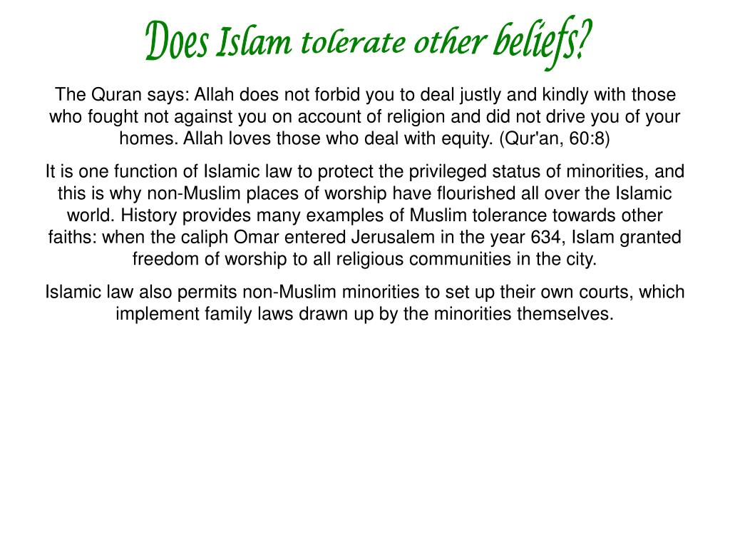 Does Islam tolerate other beliefs?