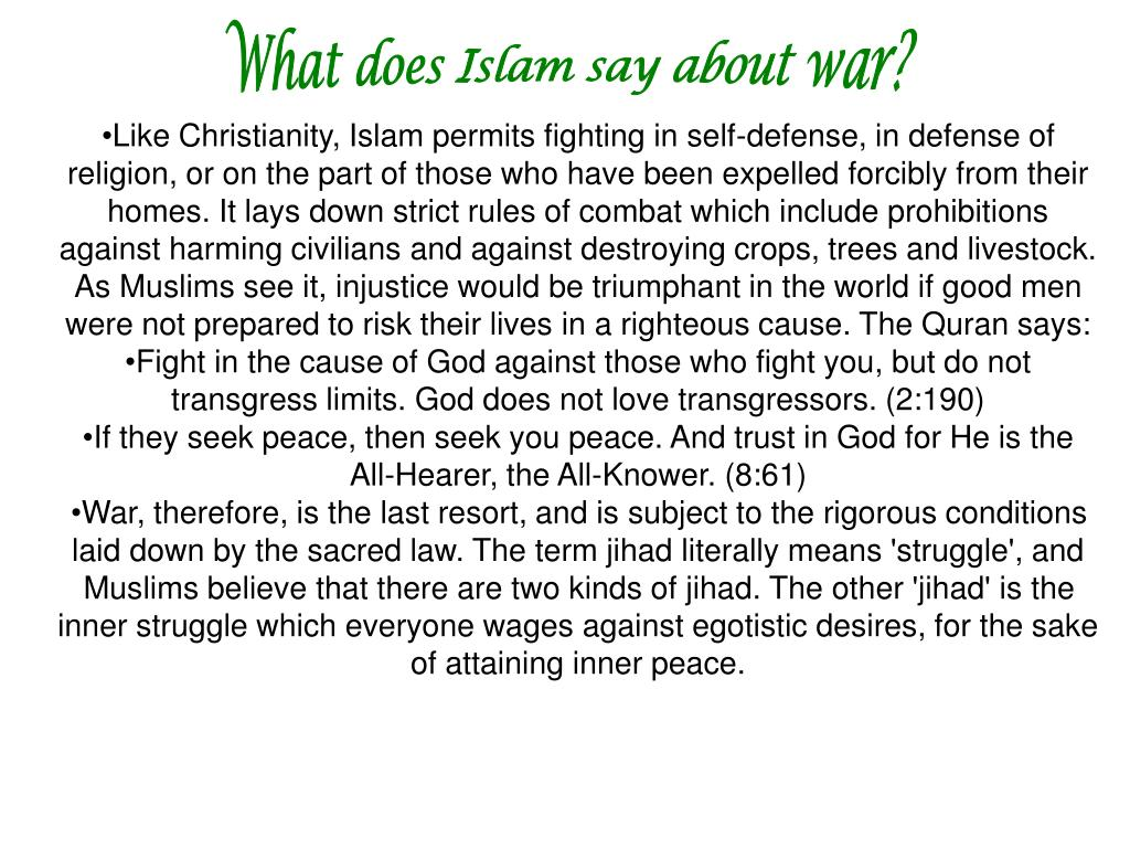 What does Islam say about war?