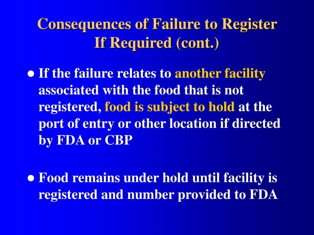 Consequences of Failure to Register