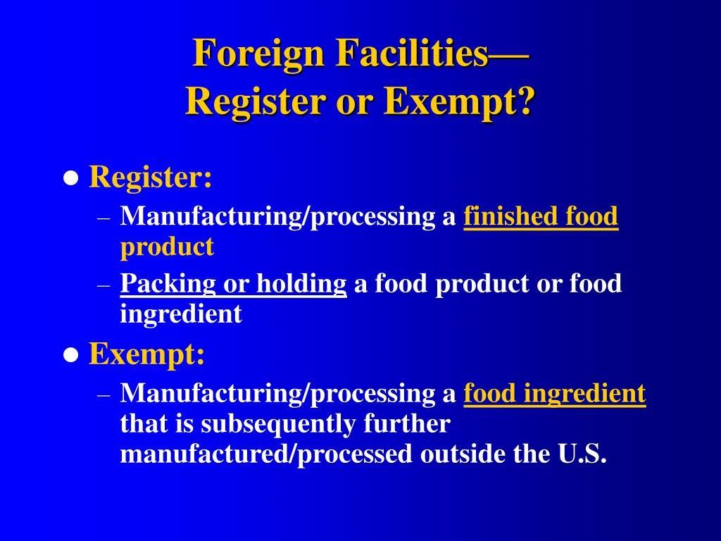 Foreign Facilities—