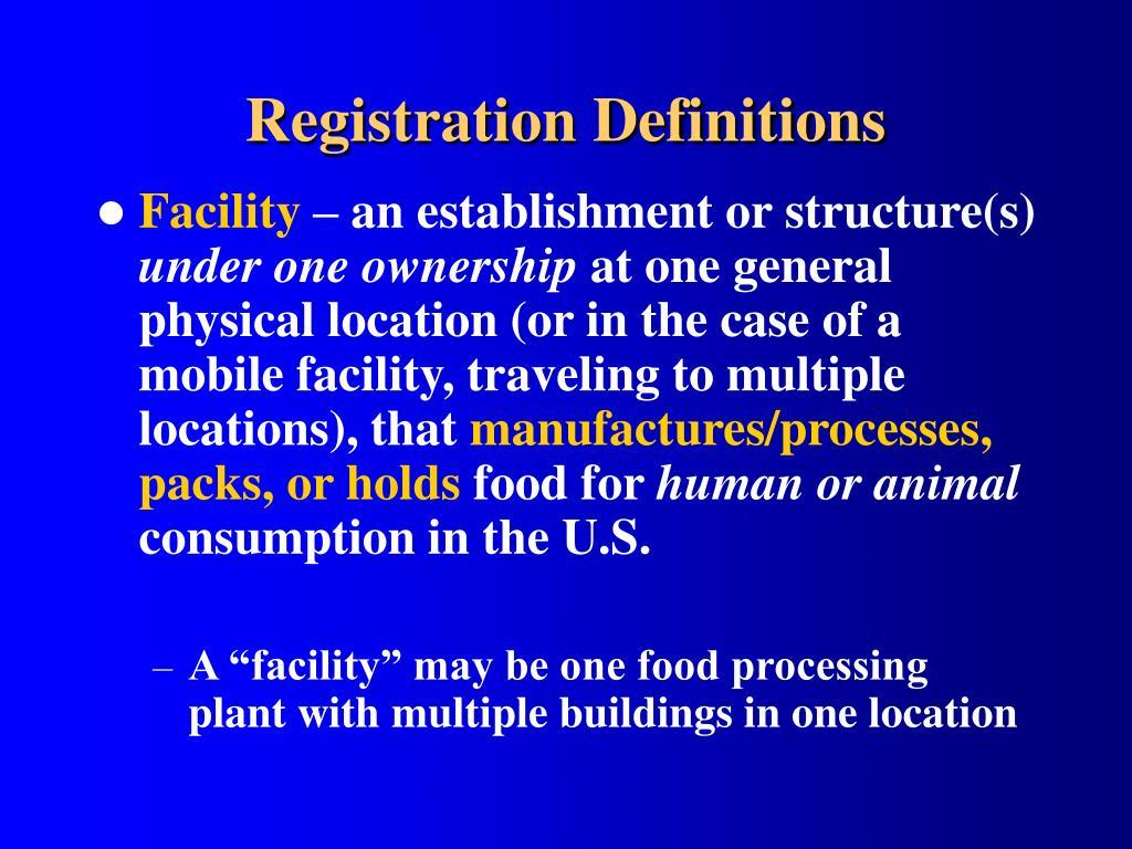 Registration Definitions