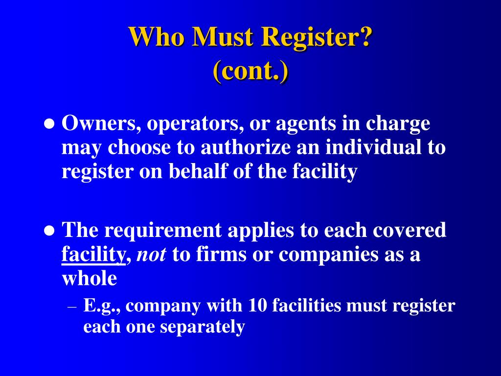 Who Must Register?