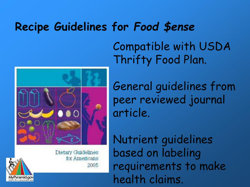 Recipe Guidelines for