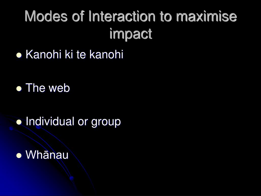 Modes of Interaction to maximise impact