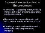 successful interventions lead to empowerment