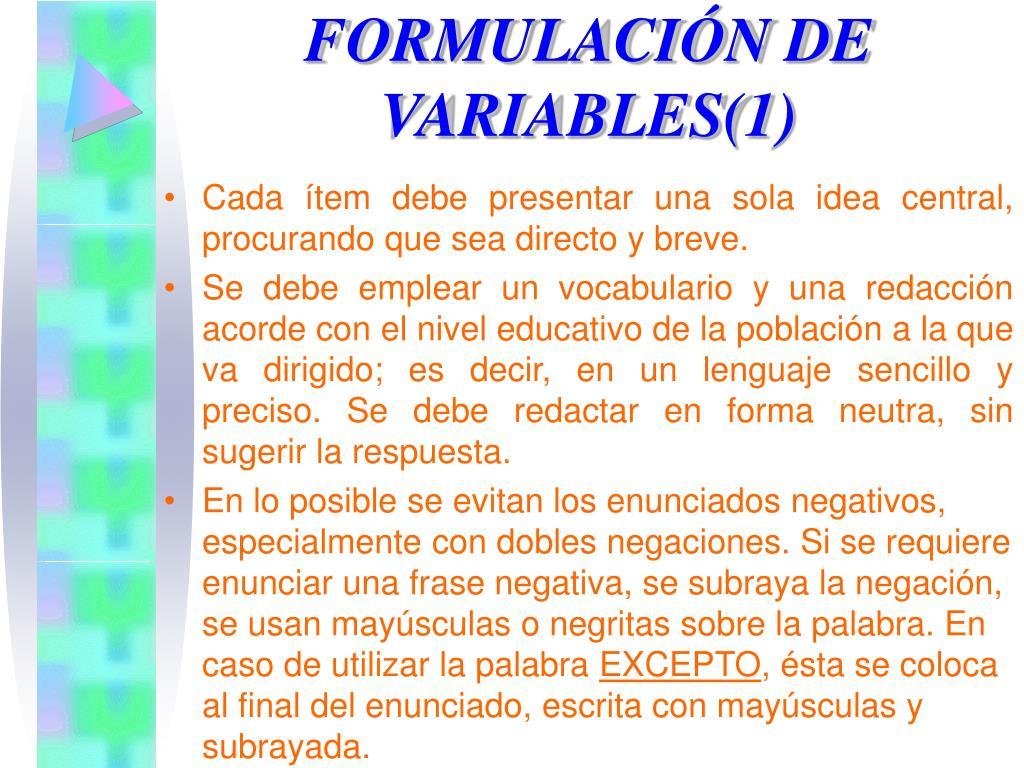 FORMULACIÓN DE VARIABLES(1)