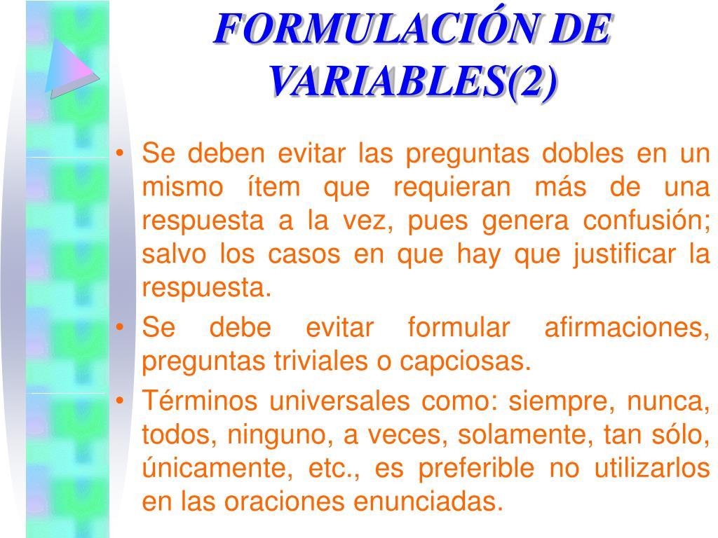 FORMULACIÓN DE VARIABLES(2)