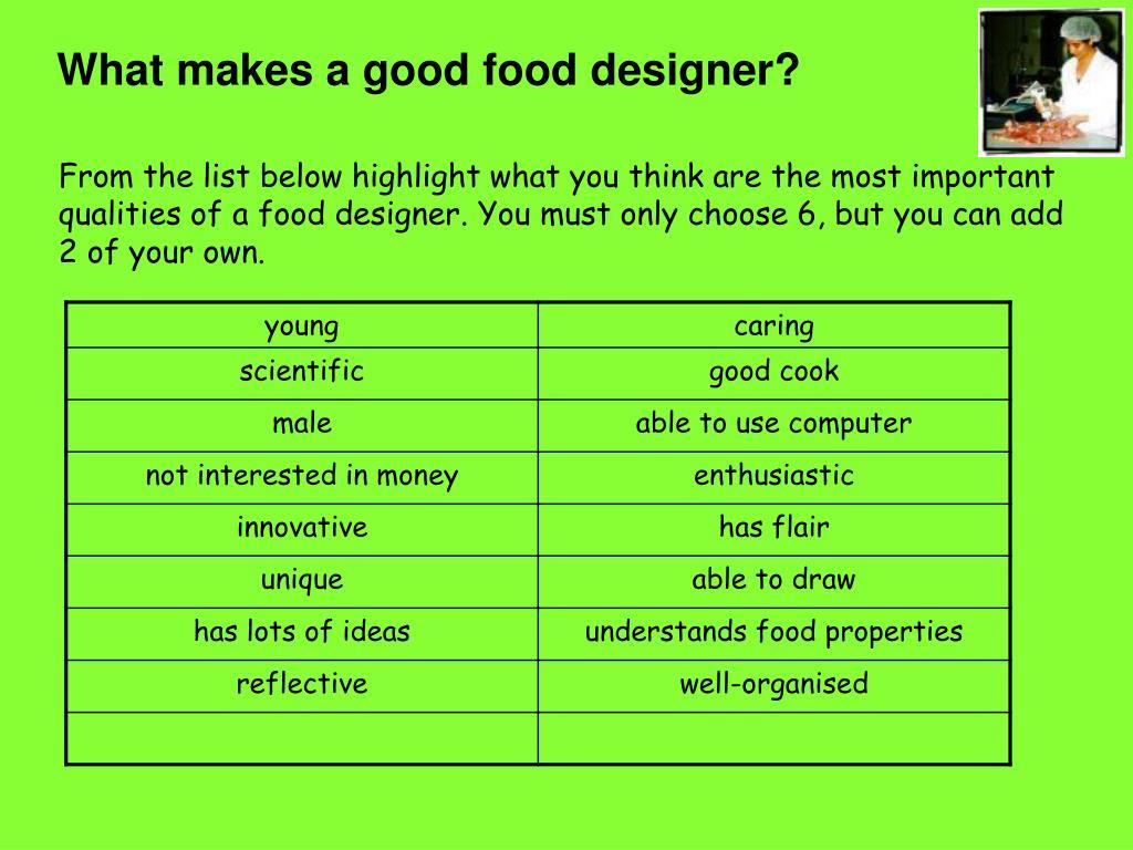 What makes a good food designer?